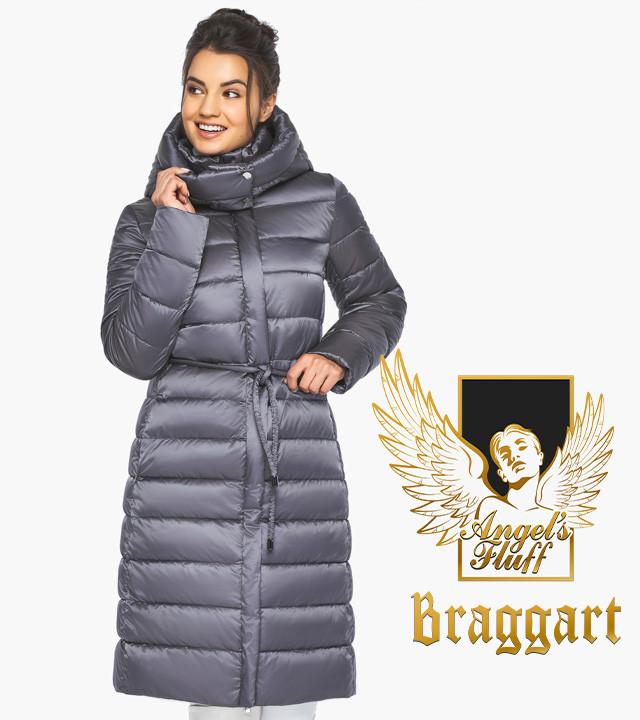 Воздуховик Braggart Angel's Fluff 44860| емчужно-серая куртка женская зимняя длинная