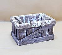 Ящик декоративный с чехлом ДЯС-3 (средний, квадратный) КОРИЧНЕВО-БЕЛЫЙ