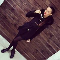 Пальто женское зимнее Берне черный мех , зимнее пальто