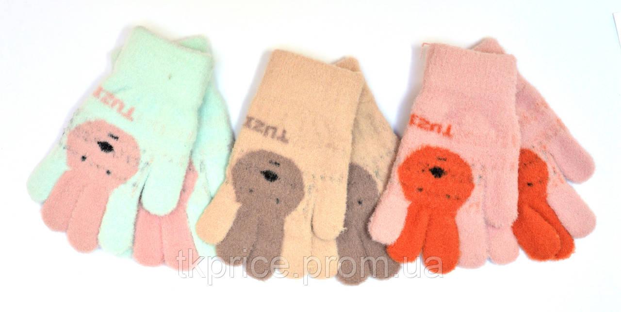 Детские одинарные перчатки для девочки - длина 14 см