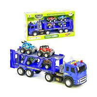 """Грузовик """"Автовоз"""" с 4 машинками, машинки на батарейках,машинка,детские машинки,машинка на радиоуправлении"""