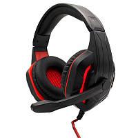 Игровые наушники KOMC G311 Wired Black-Red с микрофоном и подсветкой геймерские