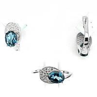 Кольцо 17 размер и серьги с топазом - серебряный набор женских украшений с Лондон блю топазом