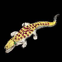 Брошь из серебра с рубинами и изумрудами Крокодил П1405