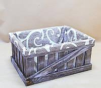 Ящик декоративный с чехлом ДЯМ-4 КОРИЧНЕВО -БЕЛЫЙ (малый, прямоугоьный)