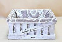 Ящик декоративный с чехлом ДЯБ-4  БЕЛО-КОРИЧНЕВЫЙ(большой, прямоугоьный)