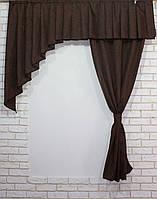 """Кухонная занавесь из ткани """"Блекаут""""  Цвет: коричневый  039к  (е928)  У"""