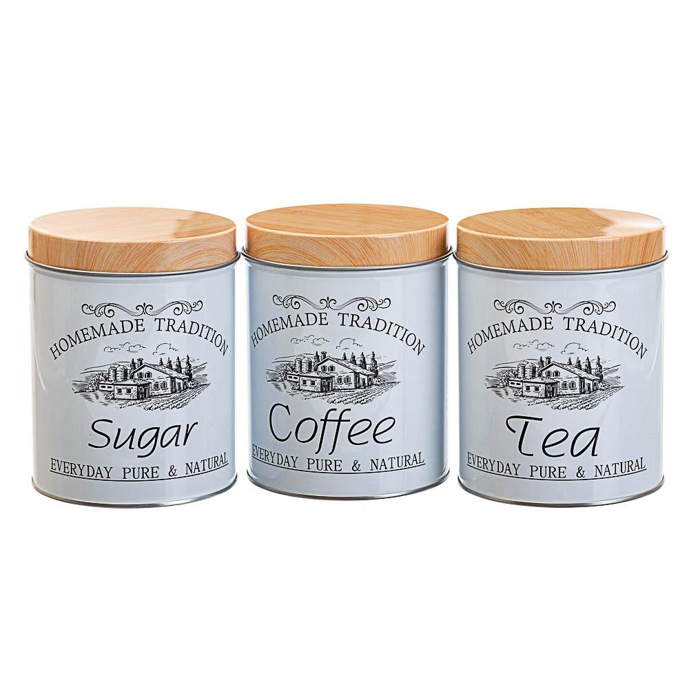 Набор из 3-х жестяных банок Чай,Сахар,Кофе 14х10,5х10,5 см 18144-002