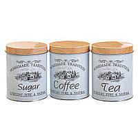 Набор из 3-х жестяных банок Чай,Сахар,Кофе 14х10,5х10,5 см 18144-002, фото 1