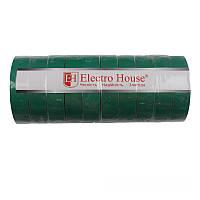 ElectroHouse Изолента зеленая 0,15мм х 18мм х 21м