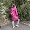 Детская демисезонная куртка пальто для девочки малиновая блеск 8-9 лет, фото 5