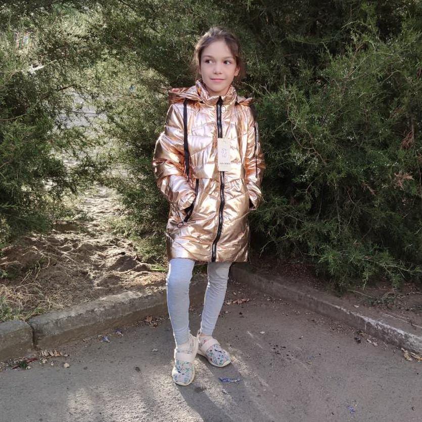 Детская демисезонная куртка пальто для девочки 4-6 лет золотистая блеск 2021