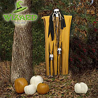 Декор для хэллоуина Призрачный Череп (95см) горчичный с черным