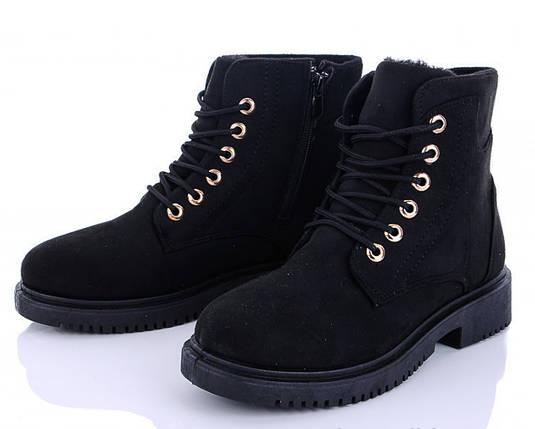 Женские зимние ботинки замшевые черные 1257522601, фото 2