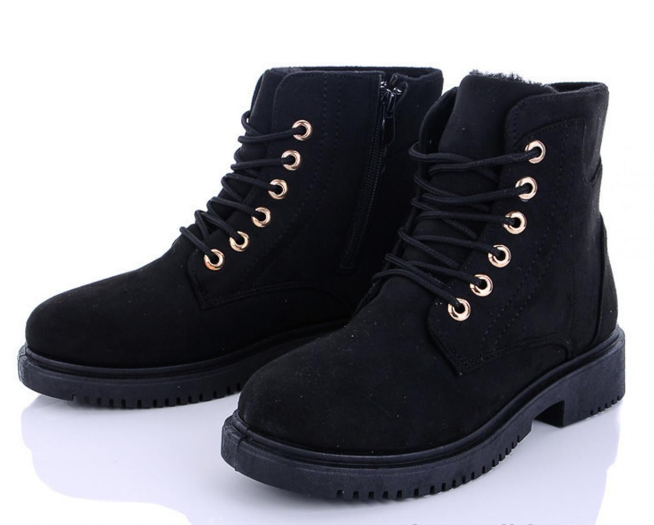 Женские зимние ботинки замшевые черные 1257522601