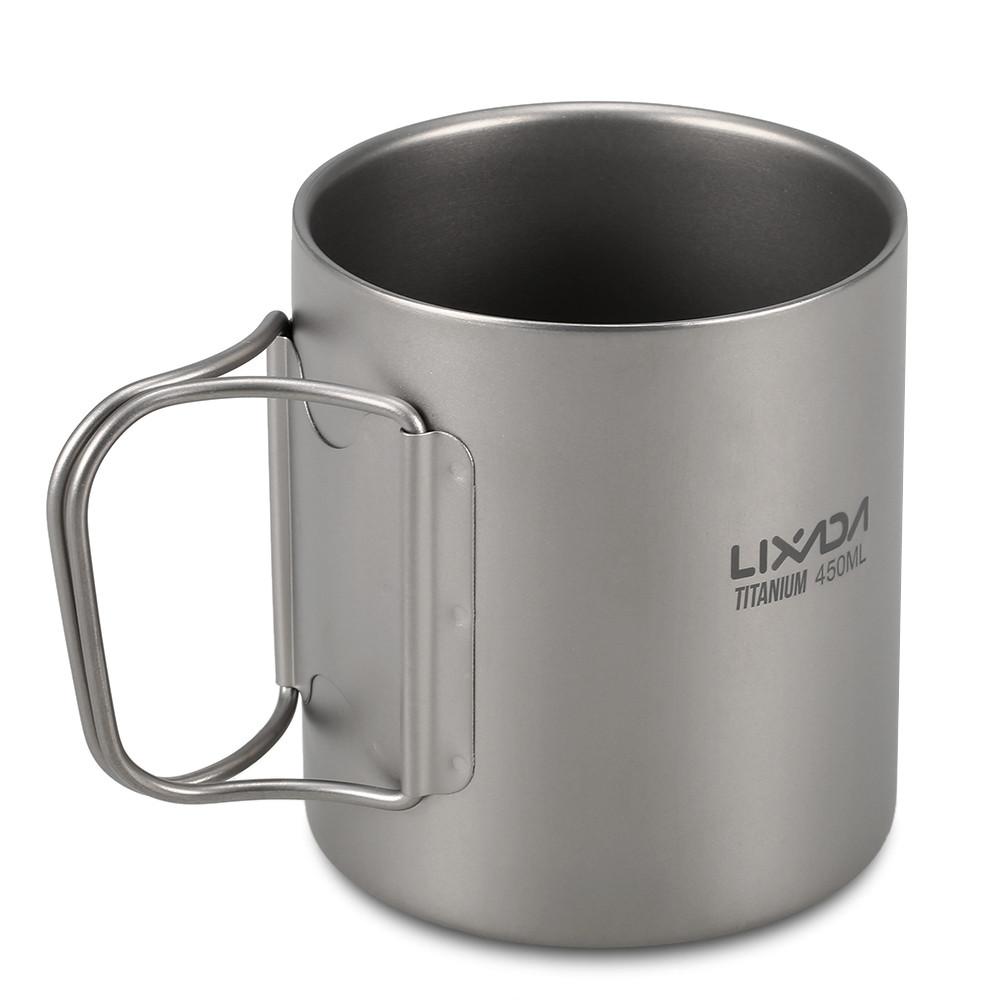 Титановая термокружка туристическая Lixada 450 мл. Чашка из титана. Титановая посуда, кружка