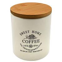 """Банка для кофе """"Глазурь"""" с бамбуковой крышкой 900мл 11.5*11.5*14см MC2837"""