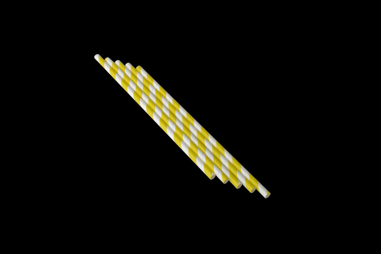 Трубочка бумажная B.A.R. 197x6 мм, Желтая полоска (2126)