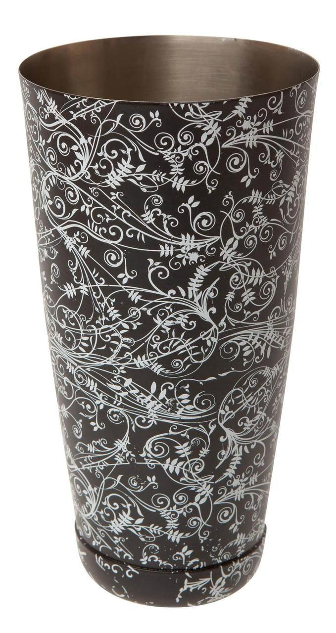 Шейкер Beaumont Mezclar Бостон, чёрный цветочный стиль, 1х828 мл (3670BLK)