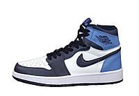 """Кроссовки кожаные унисекс высокие Nike Air Jordan """"Белые с черным и голубым"""" р. 39, 42-44, фото 1"""