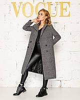Жіноче пальто в клітинку довге на гудзиках 42-44