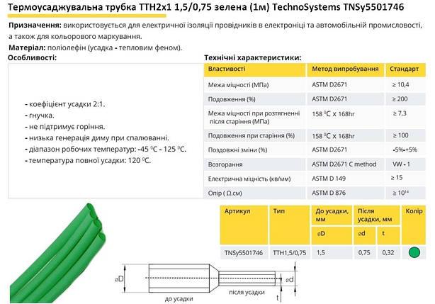 Термоусадочна трубка ТТН2х1 1.5/0.75 зелена 1 метр TechnoSystems TNSy5501746, фото 2