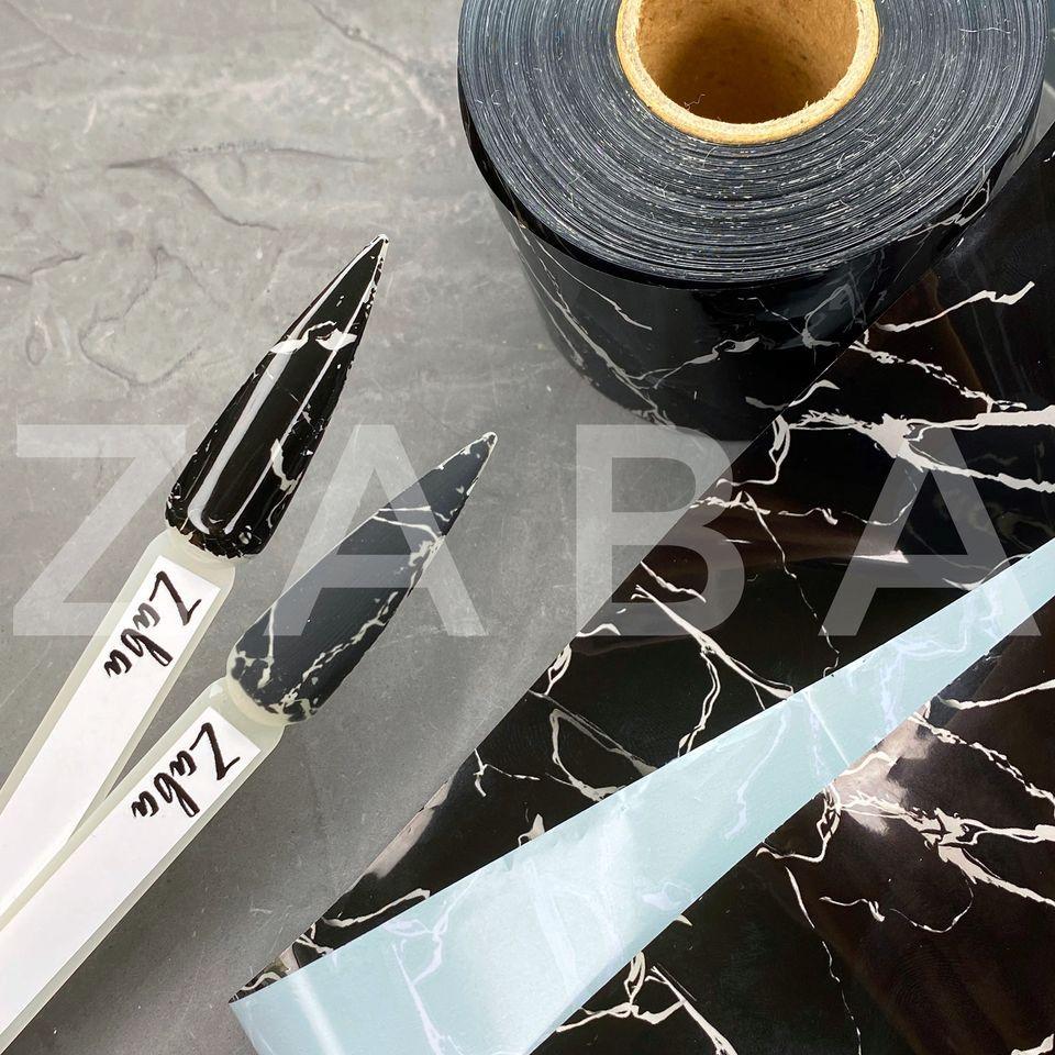 Фольга переводная Мрамор черно-белый, 50 см