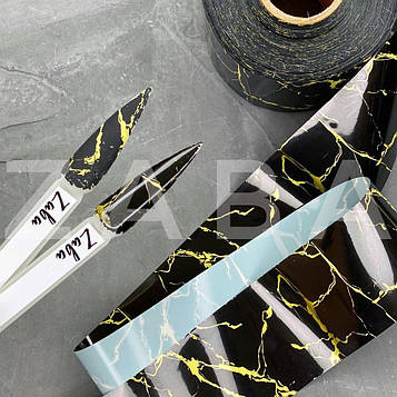 Фольга переводная Мрамор черно-желтый, 50 см