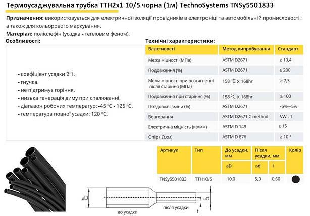 Термоусадочная трубка ТТН2х1 10/5 черная 1 метр TechnoSystems TNSy5501833, фото 2