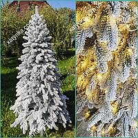 Литая елка светящаяся Заснеженная Елитная 1.80м со встроенной гирляндой / Лита ялинка