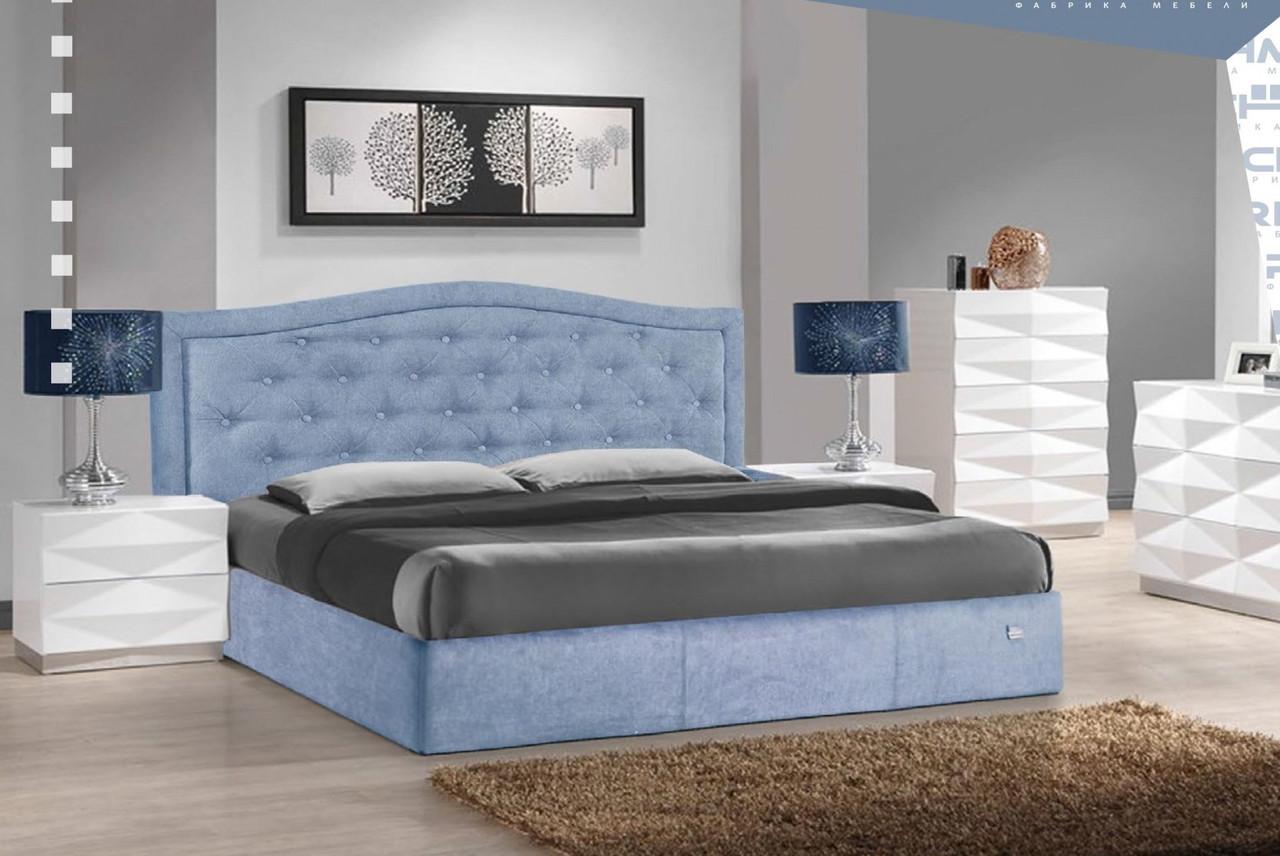 Ліжко Двоспальне Richman Скарлетт Comfort 180 х 190 см Jeans З підйомним механізмом і нішею для білизни Синя