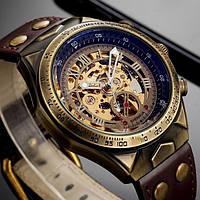 Чоловічі наручні механічні годинник Winner Status New зі шкіряним ремінцем і автопідзаводом