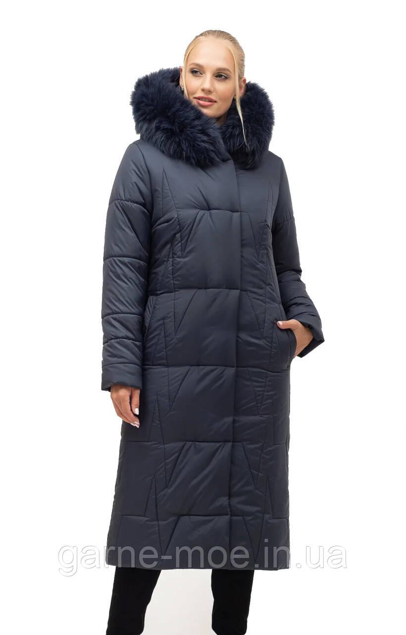 ЛД7151 Женское пальто-пуховик с натуральным мехом песца 46-56 рр