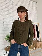 Женский нежный свитер с шикарными косами (белый, пудра, хаки, бордо, чёрный), фото 1