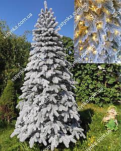 Литая елка светящаясяЗаснеженная Елитная 2.10м со встроенной гирляндой (Бесплатная доставка)  / Лита ялинка