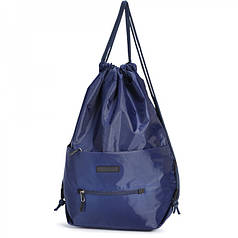Рюкзак мешок для обуви на шнурках синий с карманами Dolly 834