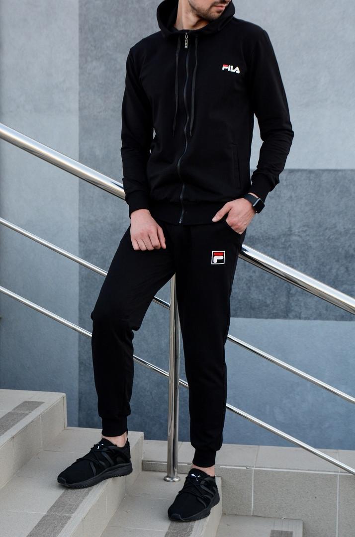 Fila мужской черный спортивный костюм с капюшоном осень.Олимпийка черная Fila+штаны черные Fila