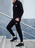 Fila мужской черный спортивный костюм с капюшоном осень.Олимпийка черная Fila+штаны черные Fila, фото 3