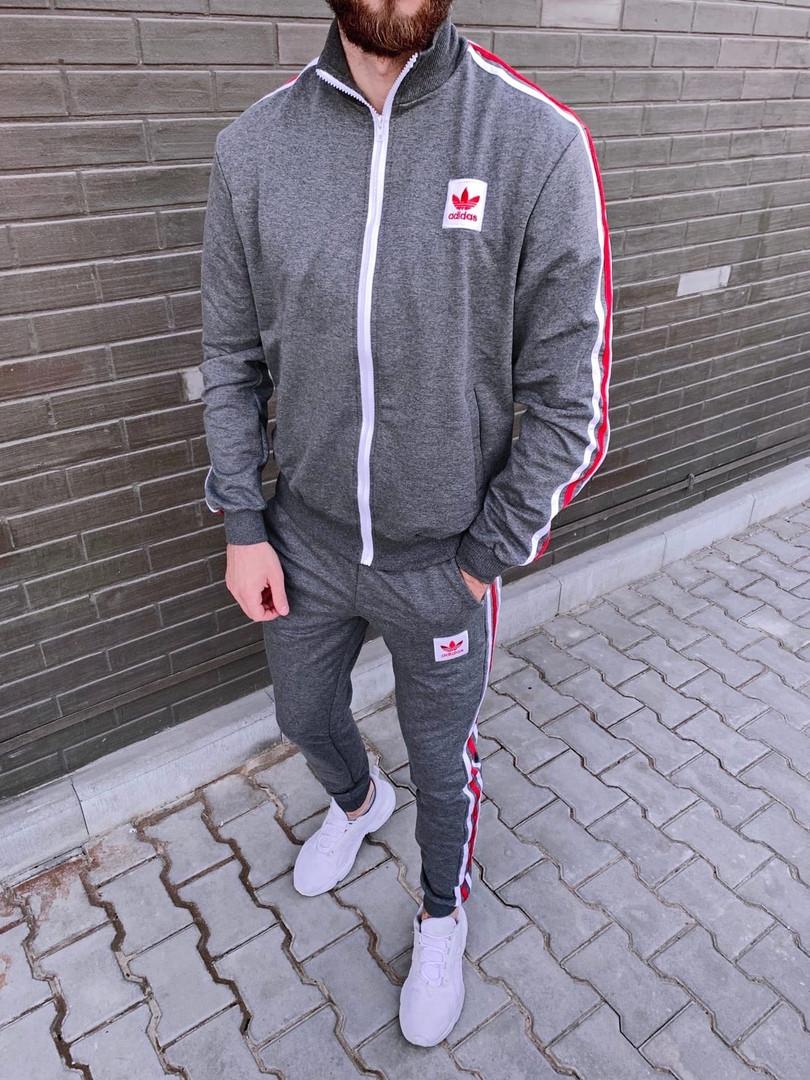 Adidas мужской серый спортивный костюм весна-осень. Олимпийка Adidas серый штаны Adidas серые