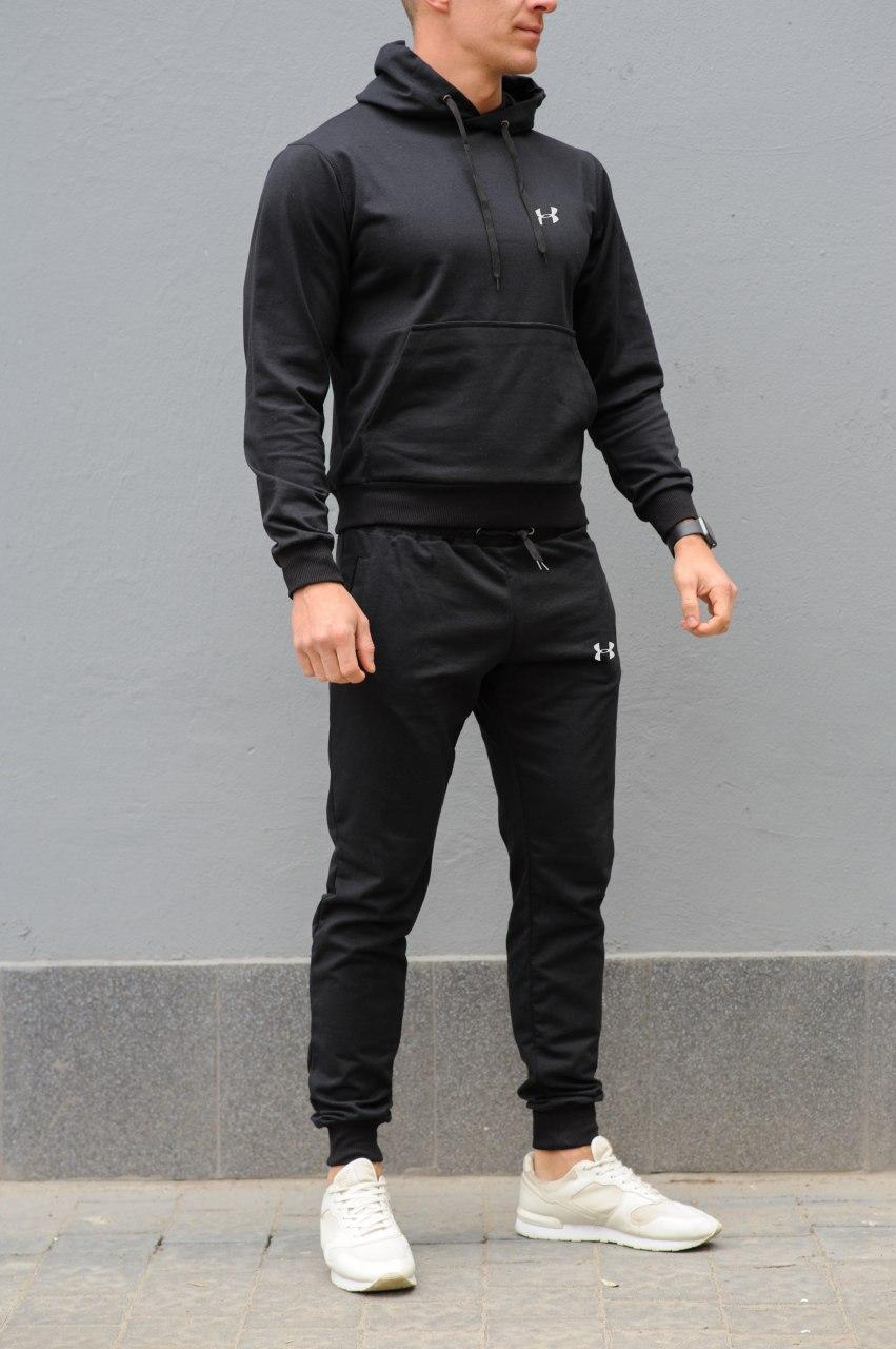 Under Armour Мужской черный спортивный костюм  демисезон. Худи черная + штаны черные. Модель с капюшоном