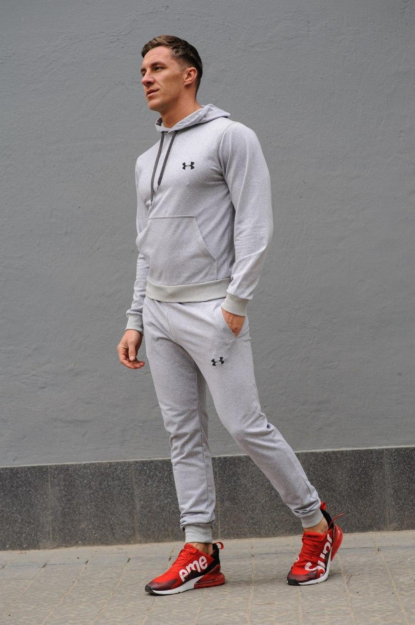 Under Armour Мужской серый спортивный костюм осень-весна. Худи серое + штаны серые. Модель с капюшоном