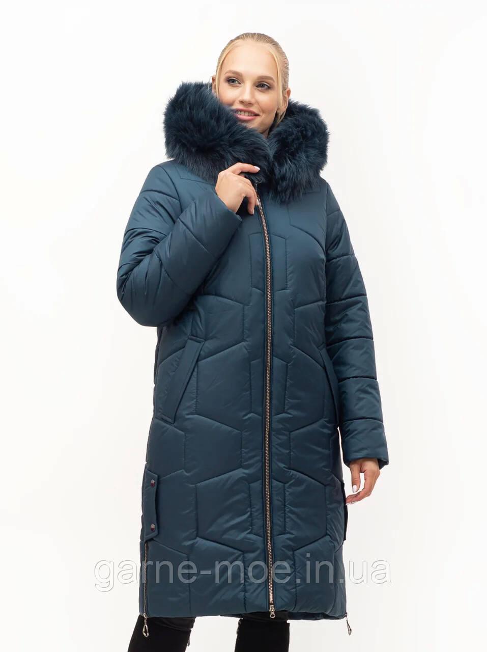 ЛД7149 Женский пуховик-пальто батал с натуральным мехом песца 48-62 рр