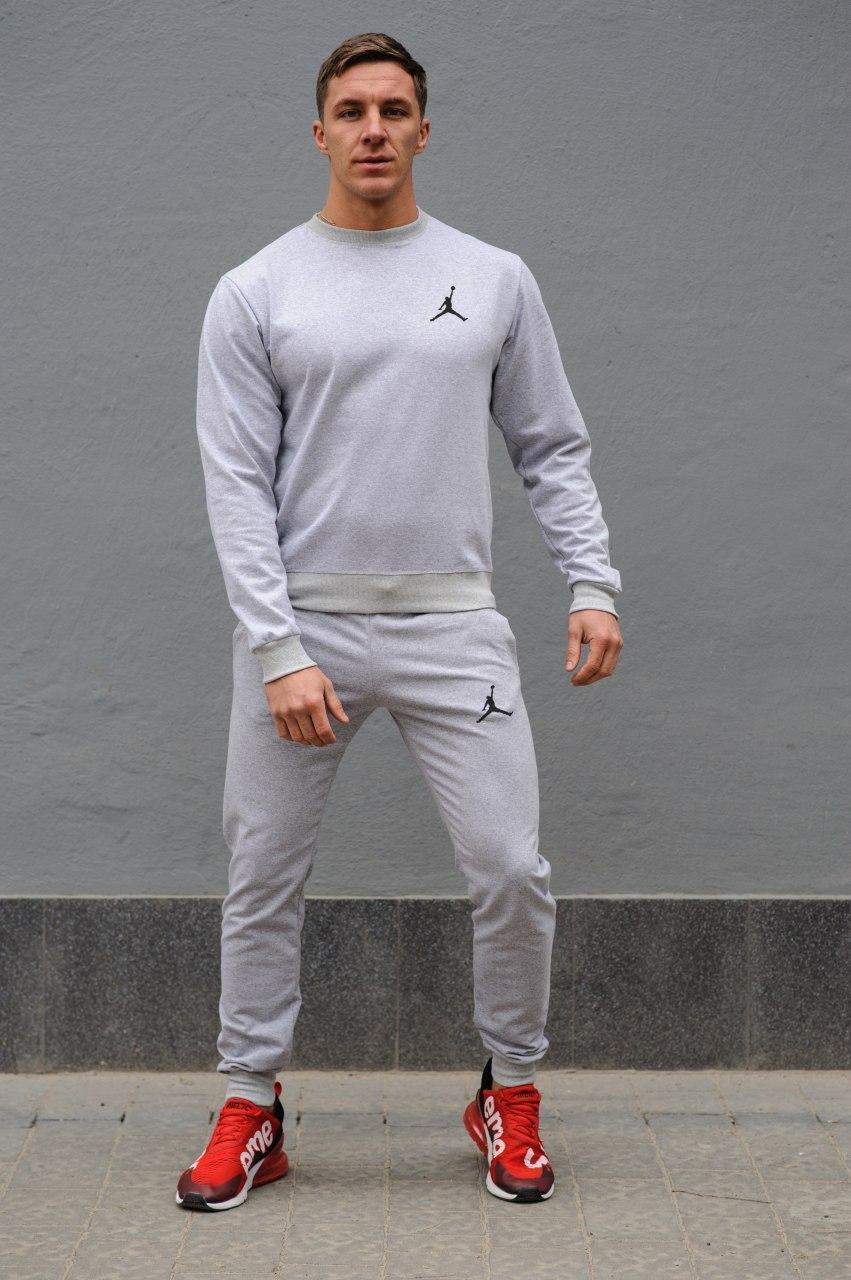 Jordan (Джордан) мужской светло серый спортивный костюм осень весна.Jordan свитшот + штаны Jordan светло серый