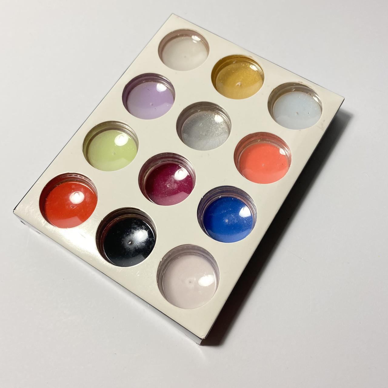 Акриловая пудра цветная для лепки на ногтях Master Professional,12шт