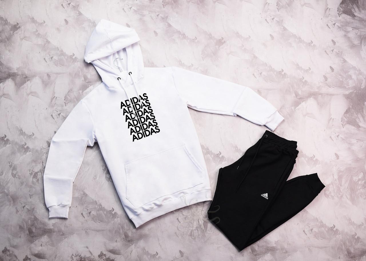Adidas чоловічий білий спортивний костюм з капюшоном весна осінь. Adidas Худі біле +штани чорні комплект