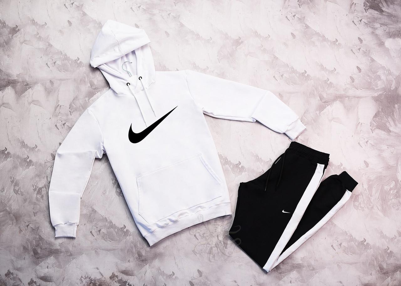 Nike чоловічий білий спортивний костюм з капюшоном весна осінь. Nike Худі біле Nike чорні штани з лампасами