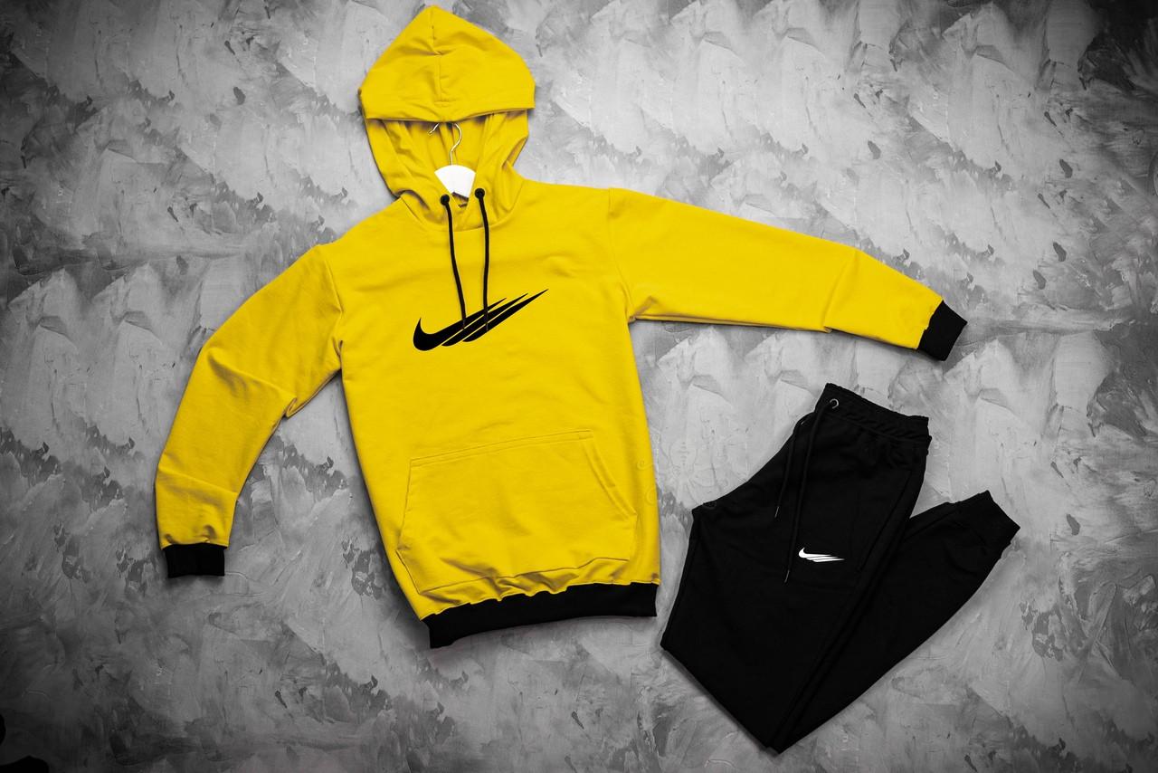 Nike мужской желтый спортивный костюм с капюшоном весна осень. Nike Худи желтое Nike штаны черные