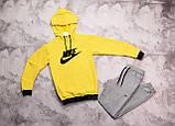 Nike мужской желтый спортивный костюм с капюшоном весна осень. Nike Худи желтое Nike штаны черные, фото 9