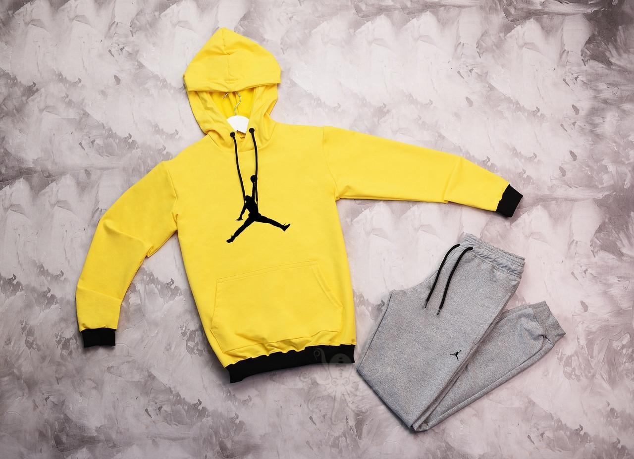 Jordan  мужской лимонный спортивный костюм с капюшоном весна осень.Jordan Худи лимонное Jordan штаны серые