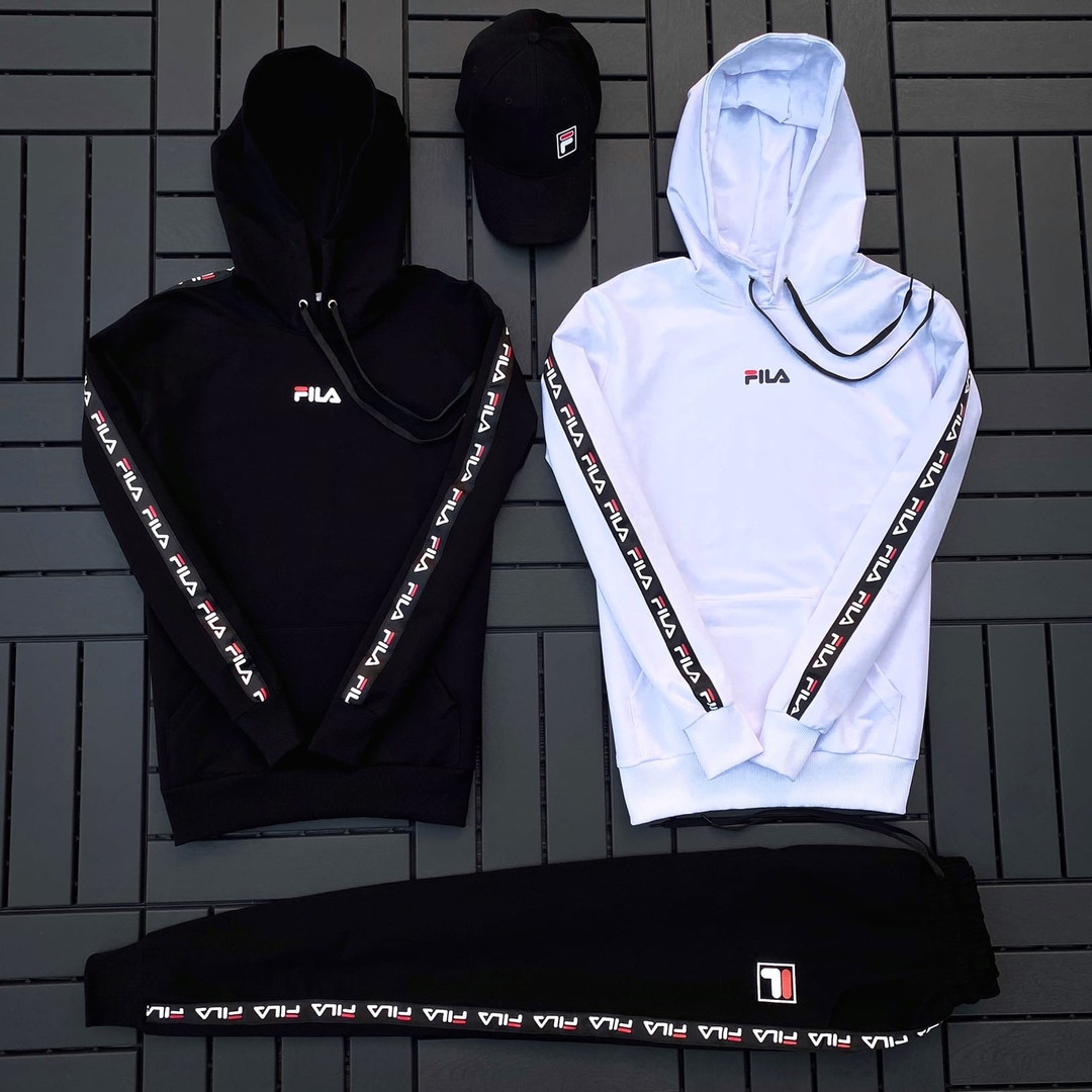 Fila мужской белый спортивный костюм с капюшоном осень.Комплектом дешевле! 2 кофты+штаны+ кепка + футболка)
